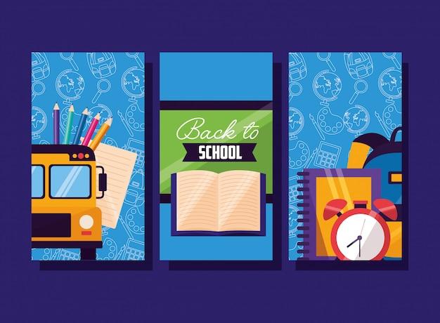 Terug naar school benodigdheden flyer set Gratis Vector