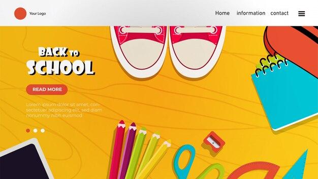 Terug naar school bestemmingspagina met kleurrijke elementen Premium Vector