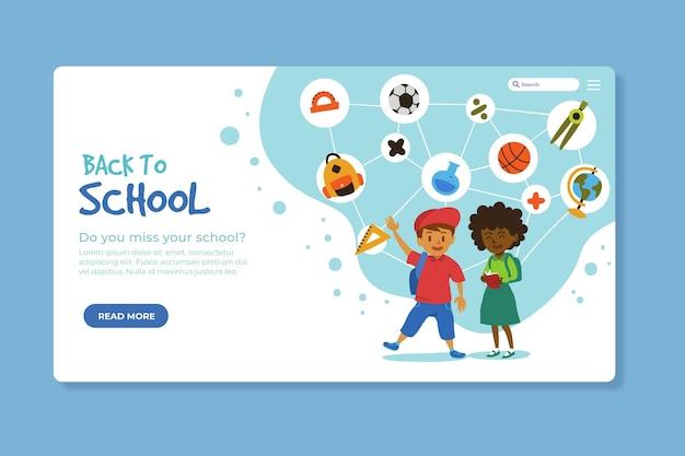 Terug naar school bestemmingspagina ontwerp Gratis Vector