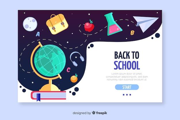 Terug naar school bestemmingspagina sjabloon Gratis Vector