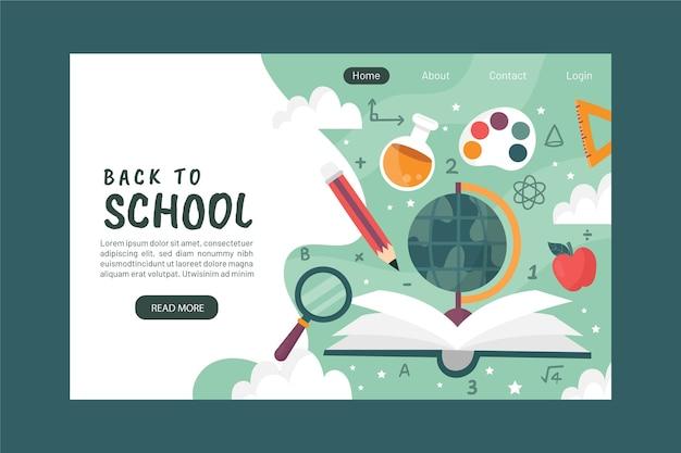 Terug naar school-bestemmingspagina Gratis Vector