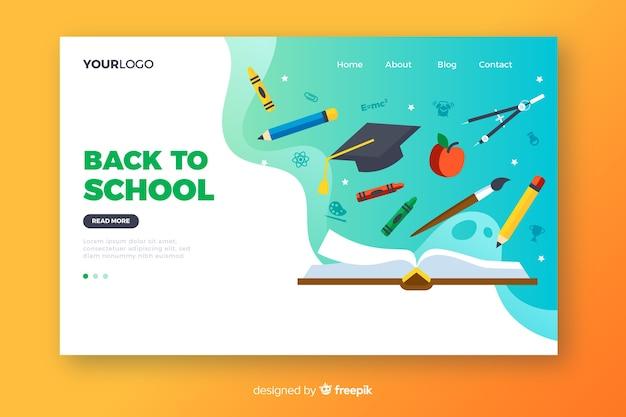 Terug naar school bestemmingspagina Gratis Vector