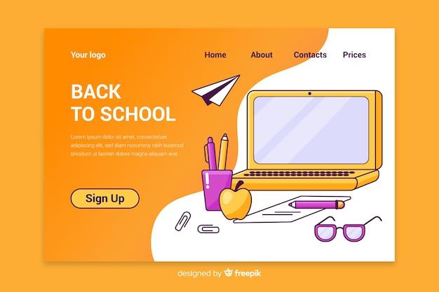 Terug naar school bestemmingspagina Premium Vector