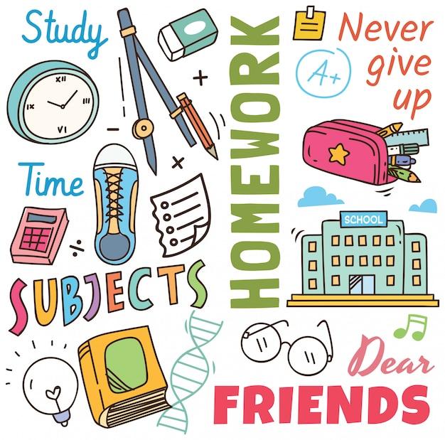 Terug naar school concept doodle achtergrond Premium Vector