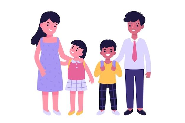 Terug naar school concept met familie Gratis Vector