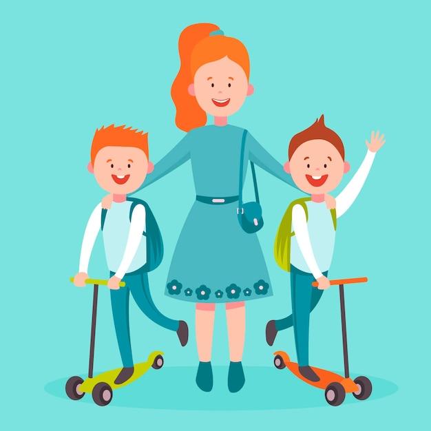 Terug naar school concept met kinderen Gratis Vector