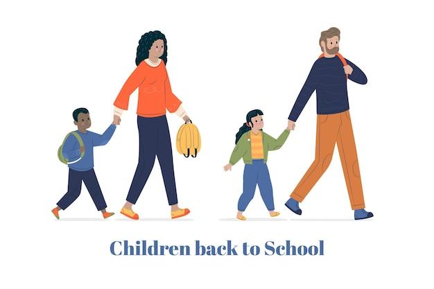 Terug naar school concept met ouders Gratis Vector