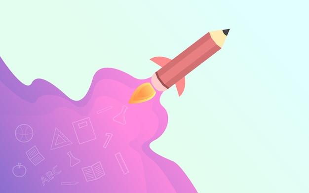 Terug naar school, creatieve illustratie van potloodraket Premium Vector