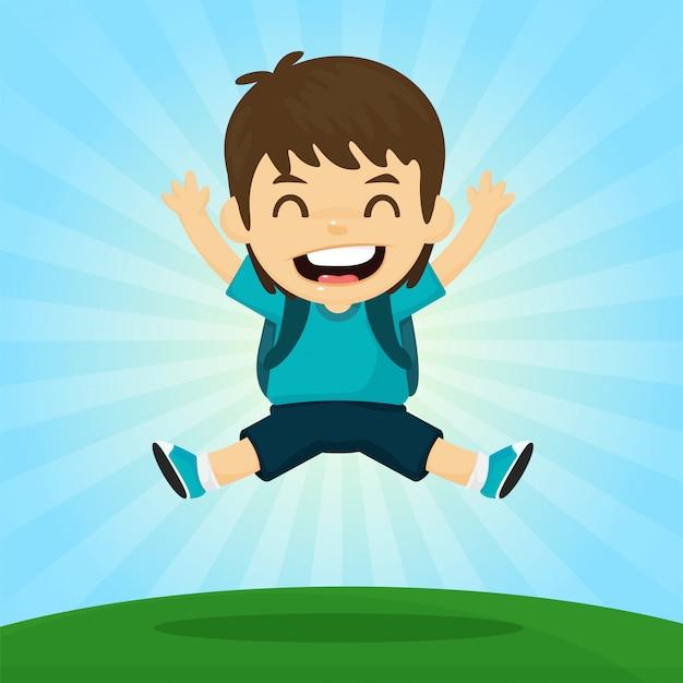 Terug naar school. de jongen sprong blij om naar school te gaan. met de zon in de ochtend Premium Vector