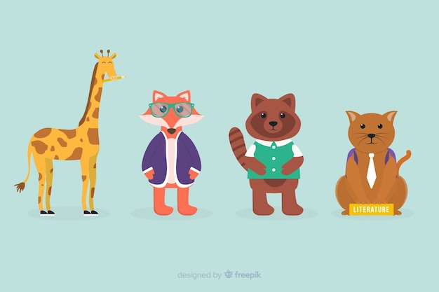 Terug naar school dieren collectie Gratis Vector