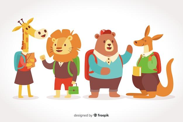 Terug naar school dierencollectie op verloop achtergrond Gratis Vector