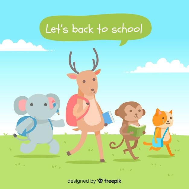 Terug naar school dierencollectie Gratis Vector