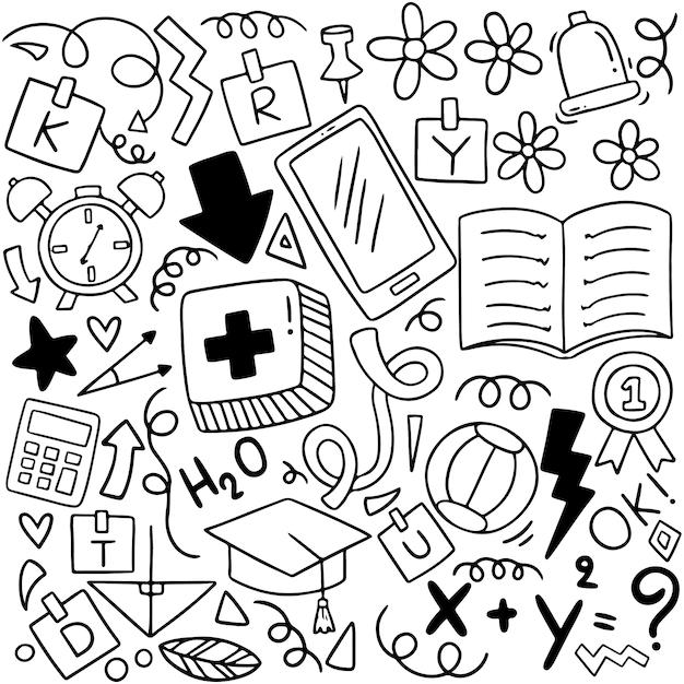 Terug naar school doodle elementen samenstelling Premium Vector