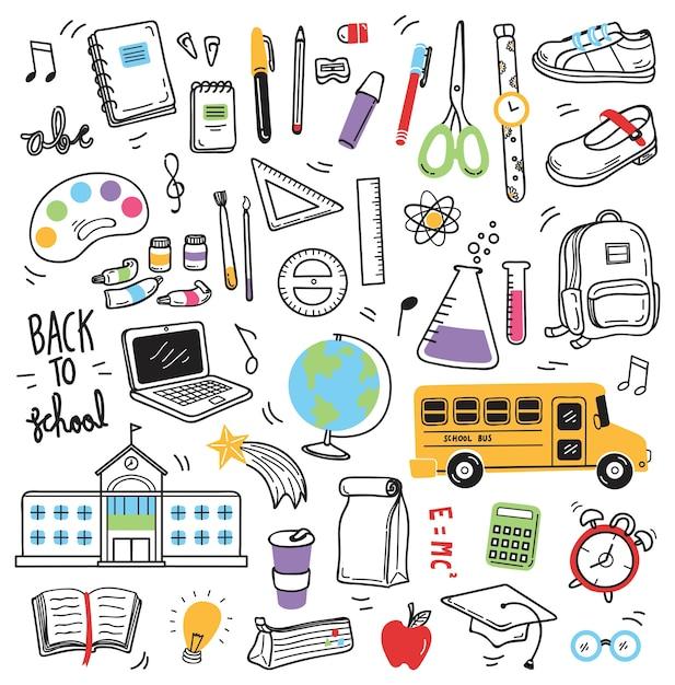 Terug naar school doodle elementen Premium Vector