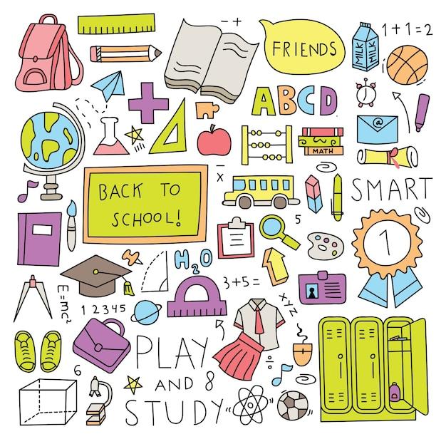Terug naar school doodle set vector illustratie Premium Vector