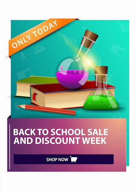 Terug naar school en kortingsweek, korting op verticale webbanner Premium Vector