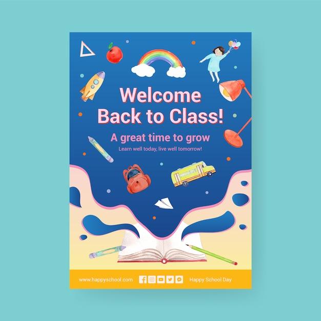 Terug naar school en onderwijs concept met poster sjabloon. Gratis Vector