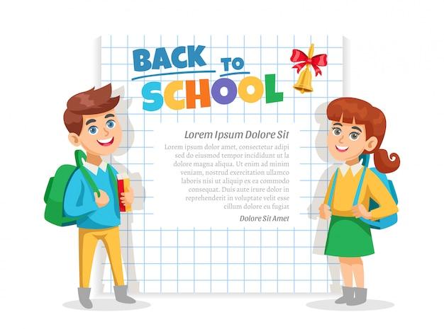 Terug naar school frame poster Gratis Vector