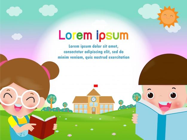 Terug naar school, gelukkige kinderen lezen van boeken, student leren, onderwijs concept sjabloon Premium Vector