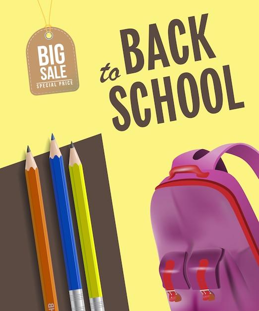 Terug naar school grote verkoop poster met rugzak, potloden Gratis Vector