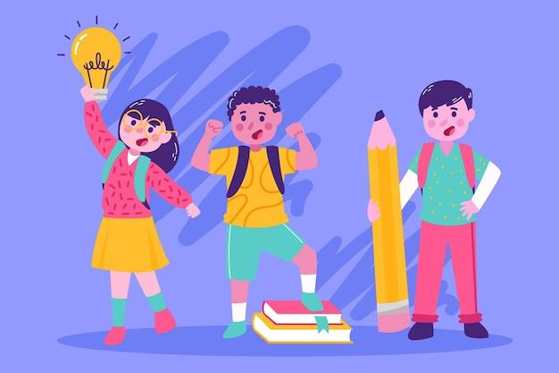 Terug naar school illustratie thema Premium Vector