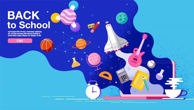 Terug naar school inspiratie poster plat kleurrijk Premium Vector
