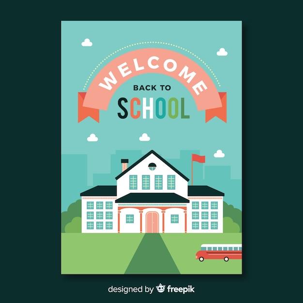Terug naar school kaartsjabloon Gratis Vector