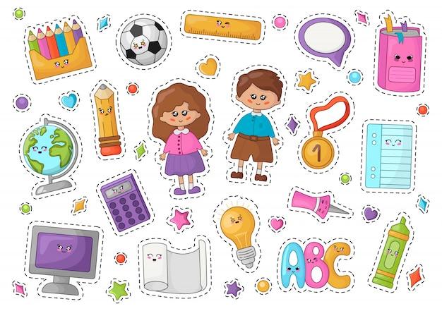 Terug naar school kawaii stickers Premium Vector