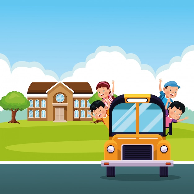 Terug naar school kinderen cartoon Gratis Vector