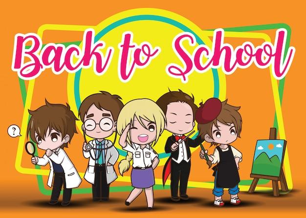 Terug naar school., kinderen in banenpak., jobconcept. Premium Vector