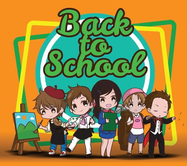 Terug naar school. kinderen in pak. Premium Vector