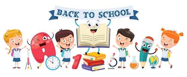Terug naar school. kleine studenten studeren en lezen Premium Vector