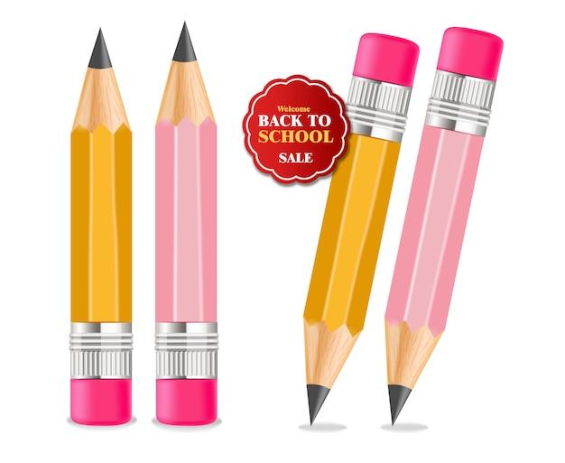 Terug naar school kleurpotloden levert illustratie Premium Vector