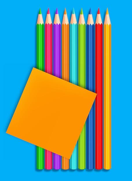 Terug naar school kleurrijke kleurpotloden realistisch. 3d gedetailleerde illustratie Premium Vector