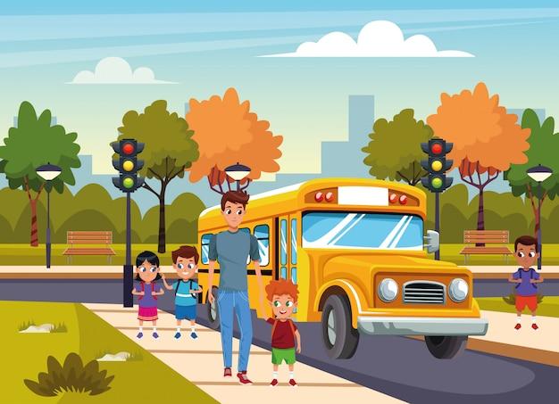 Terug naar school met geluk Gratis Vector