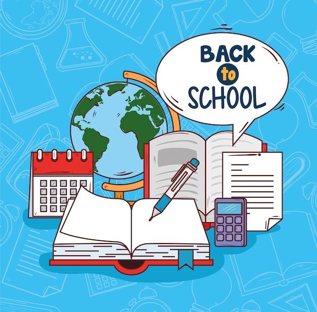 Terug naar school met open boek, ontwerp van de onderwijs het vectorillustratie Premium Vector