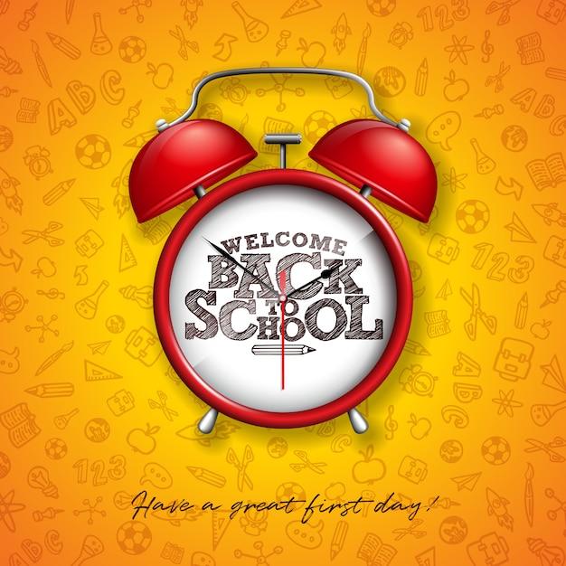 Terug naar school met rode wekker en typografie gele achtergrond Premium Vector