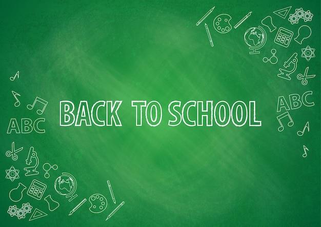 Terug naar school met schoolbord achtergrond vector Premium Vector