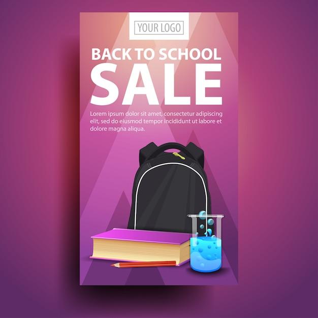Terug naar school, moderne, modieuze verticale banner voor uw zaken met schoolrugzak Premium Vector