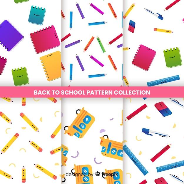 Terug naar school naadloze patrooncollectie Gratis Vector