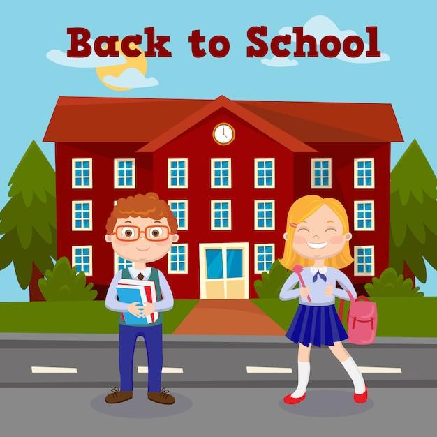 Terug naar school onderwijs concept met schoolgebouw en leerlingen. Premium Vector