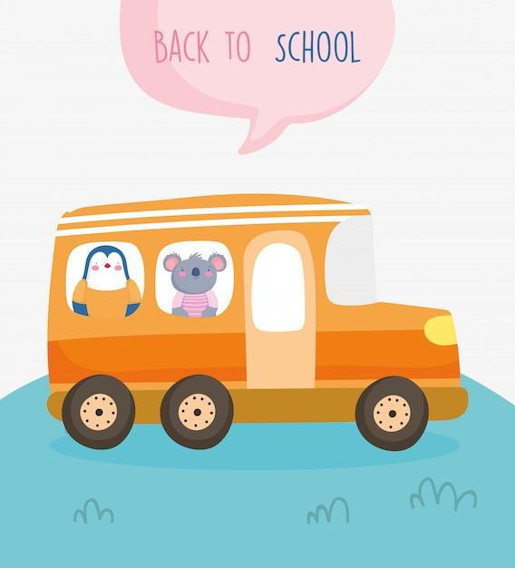Terug naar school onderwijs schattige pinguïn en koala in bus Premium Vector