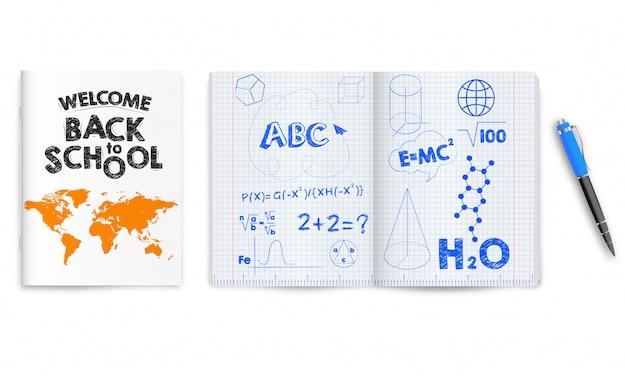 Terug naar school. open en gesloten schoolnotitieboekjes geïsoleerd Premium Vector