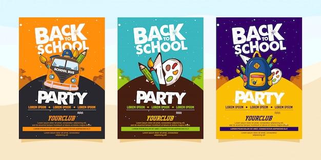 Terug naar school partij flyer of poster sjabloon Premium Vector