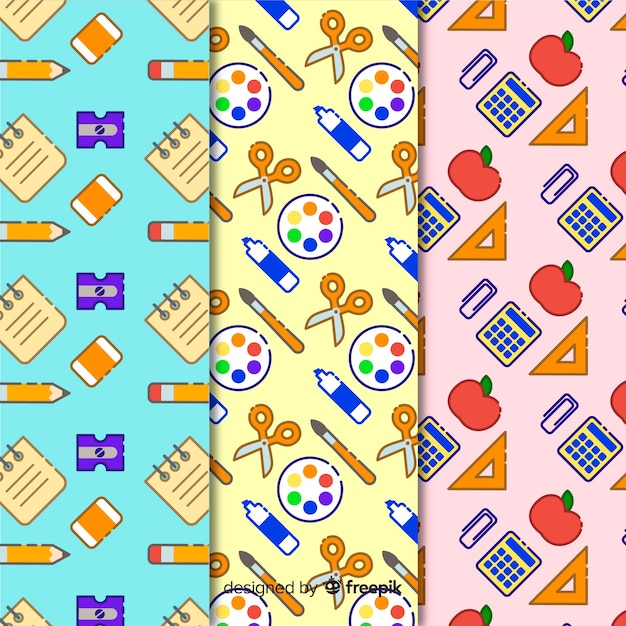Terug naar school patroonverzameling Gratis Vector