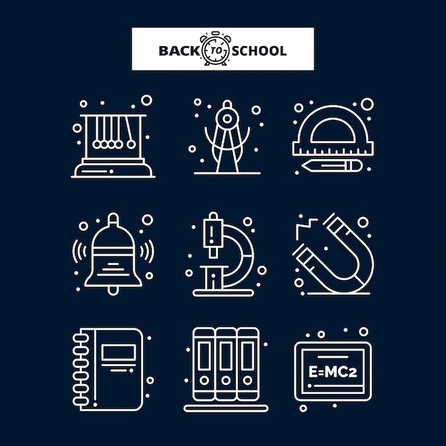 Terug naar school-pictogram. onderwijs en leren lijn pictogrammen instellen. Premium Vector