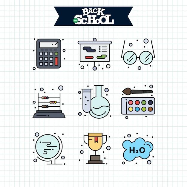 Terug naar school-pictogram. onderwijs en leren lijn pictogrammen instellen. Gratis Vector
