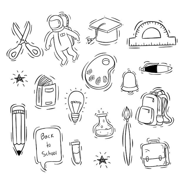 Terug naar school pictogrammen collectie met hand getrokken stijl Premium Vector