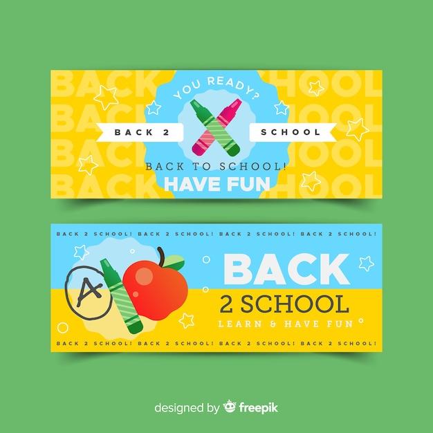 Terug naar school platte ontwerp banners Gratis Vector