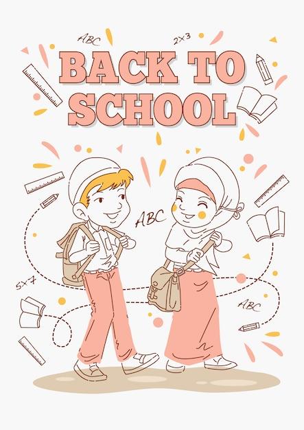 Terug naar school poster, kinderen klaar om te gaan Premium Vector